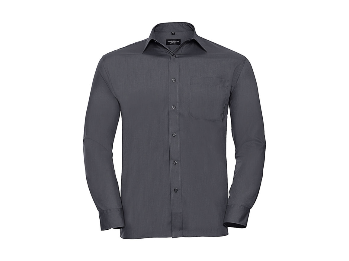 Russell Europe Poplin Shirt LS, Convoy Grey, XL bedrucken, Art.-Nr. 794001276