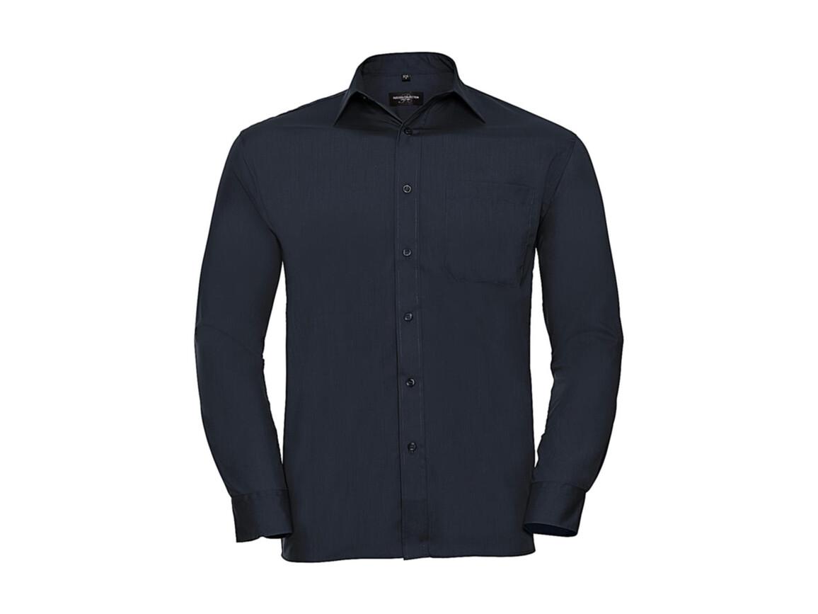 Russell Europe Poplin Shirt LS, French Navy, S bedrucken, Art.-Nr. 794002013
