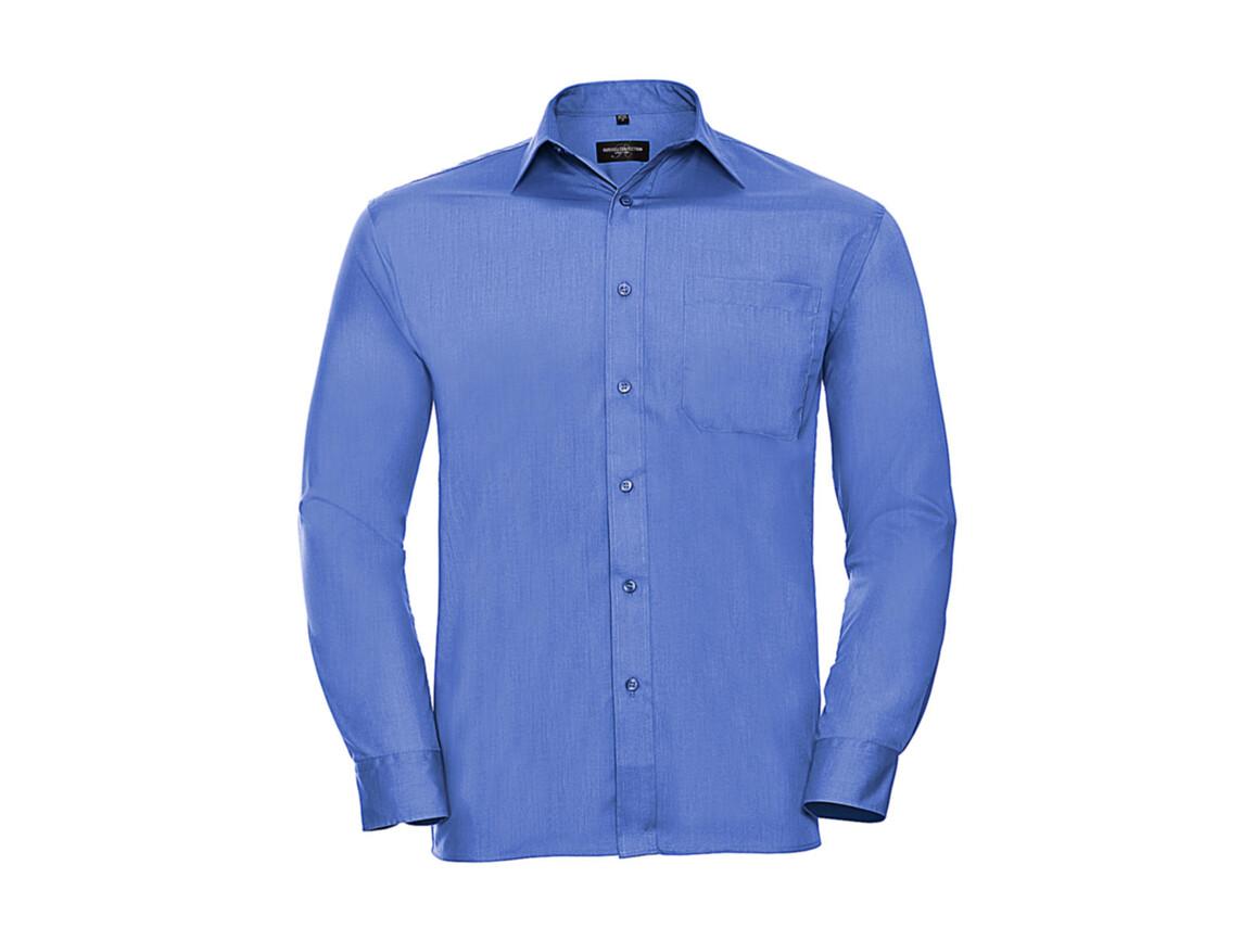 Russell Europe Poplin Shirt LS, Corporate Blue, 4XL bedrucken, Art.-Nr. 794002339