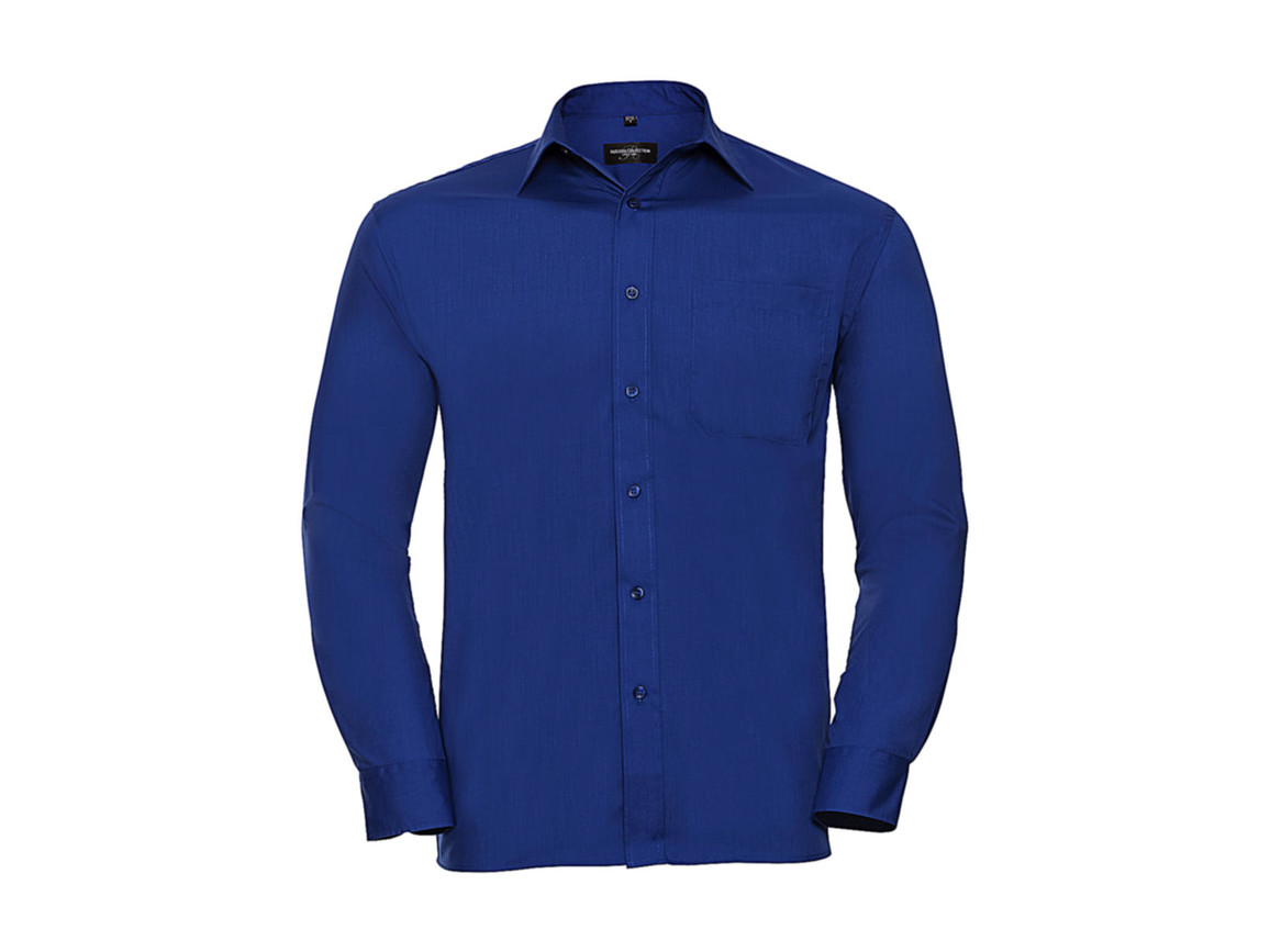 Russell Europe Poplin Shirt LS, Bright Royal, 4XL bedrucken, Art.-Nr. 794003069