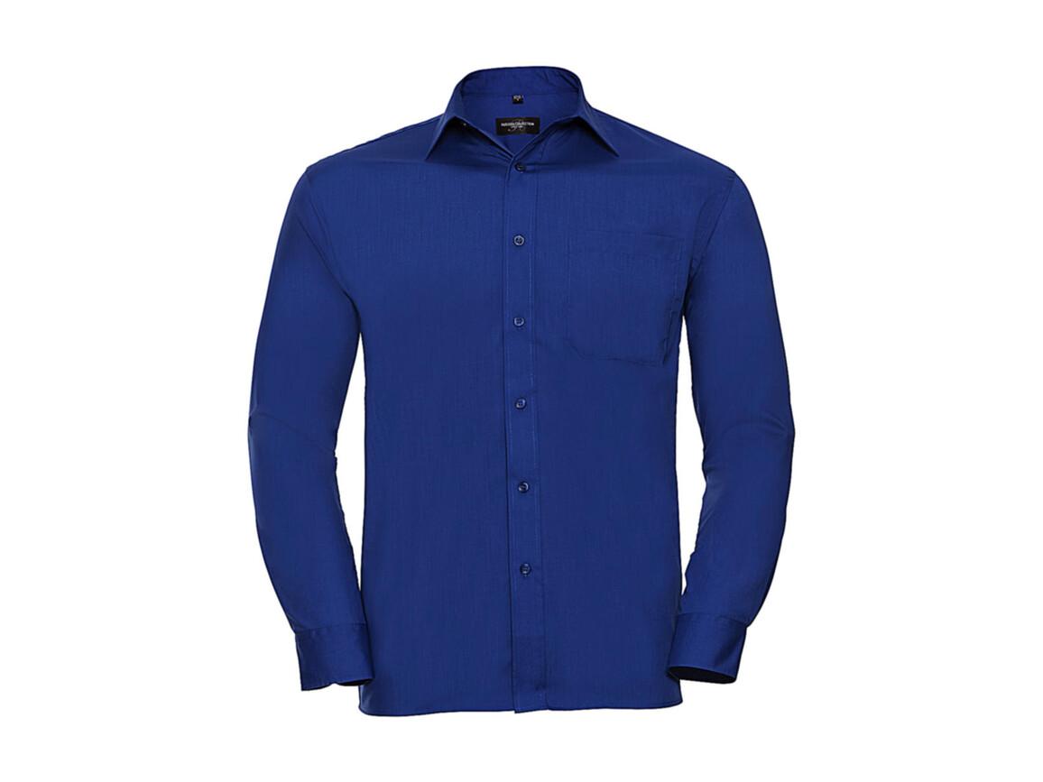 Russell Europe Poplin Shirt LS, Bright Royal, M bedrucken, Art.-Nr. 794003064