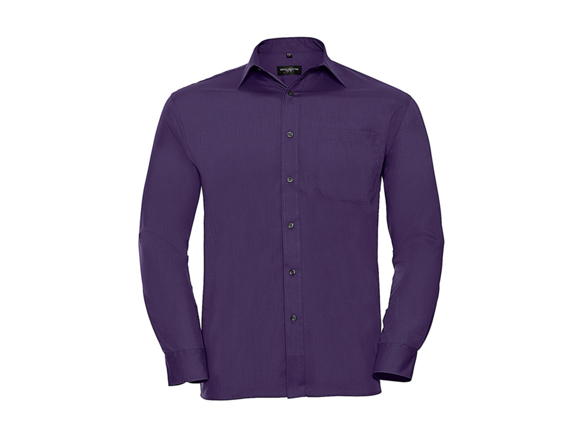 Russell Europe Poplin Shirt LS, Purple, 2XL bedrucken, Art.-Nr. 794003497
