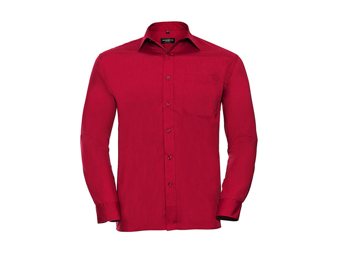 Russell Europe Poplin Shirt LS, Classic Red, M bedrucken, Art.-Nr. 794004014