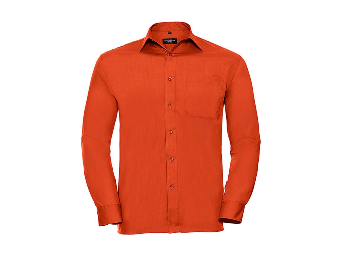 Russell Europe Poplin Shirt LS, Orange, 4XL bedrucken, Art.-Nr. 794004109