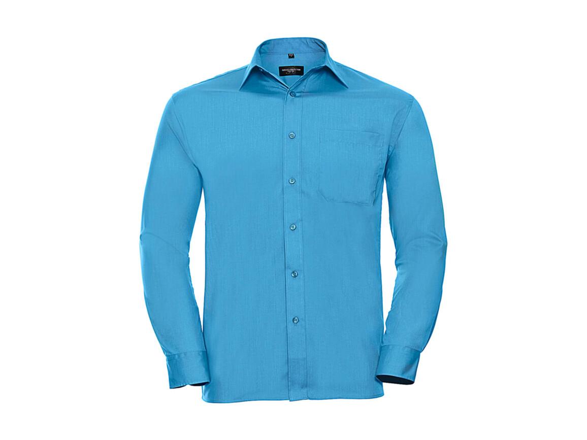 Russell Europe Poplin Shirt LS, Turquoise, M bedrucken, Art.-Nr. 794005364