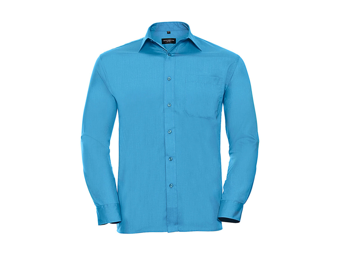 Russell Europe Poplin Shirt LS, Turquoise, S bedrucken, Art.-Nr. 794005363