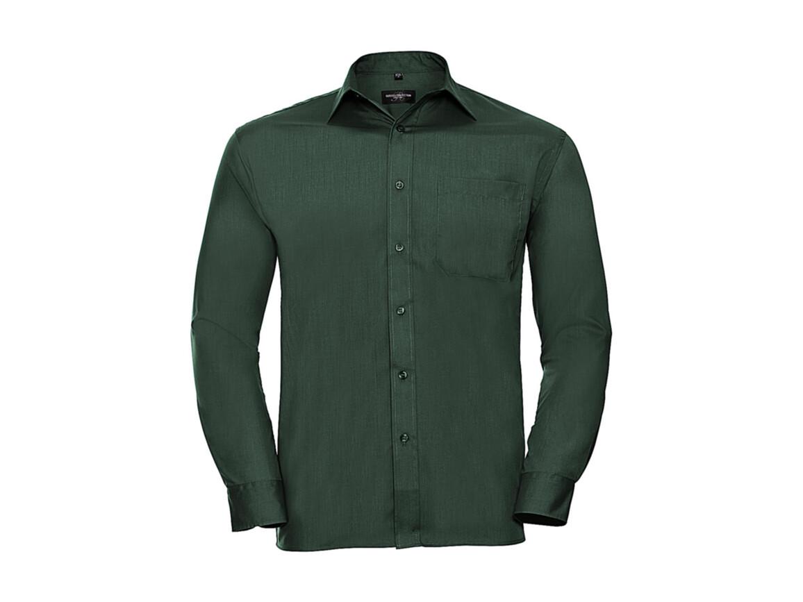 Russell Europe Poplin Shirt LS, Bottle Green, S bedrucken, Art.-Nr. 794005403