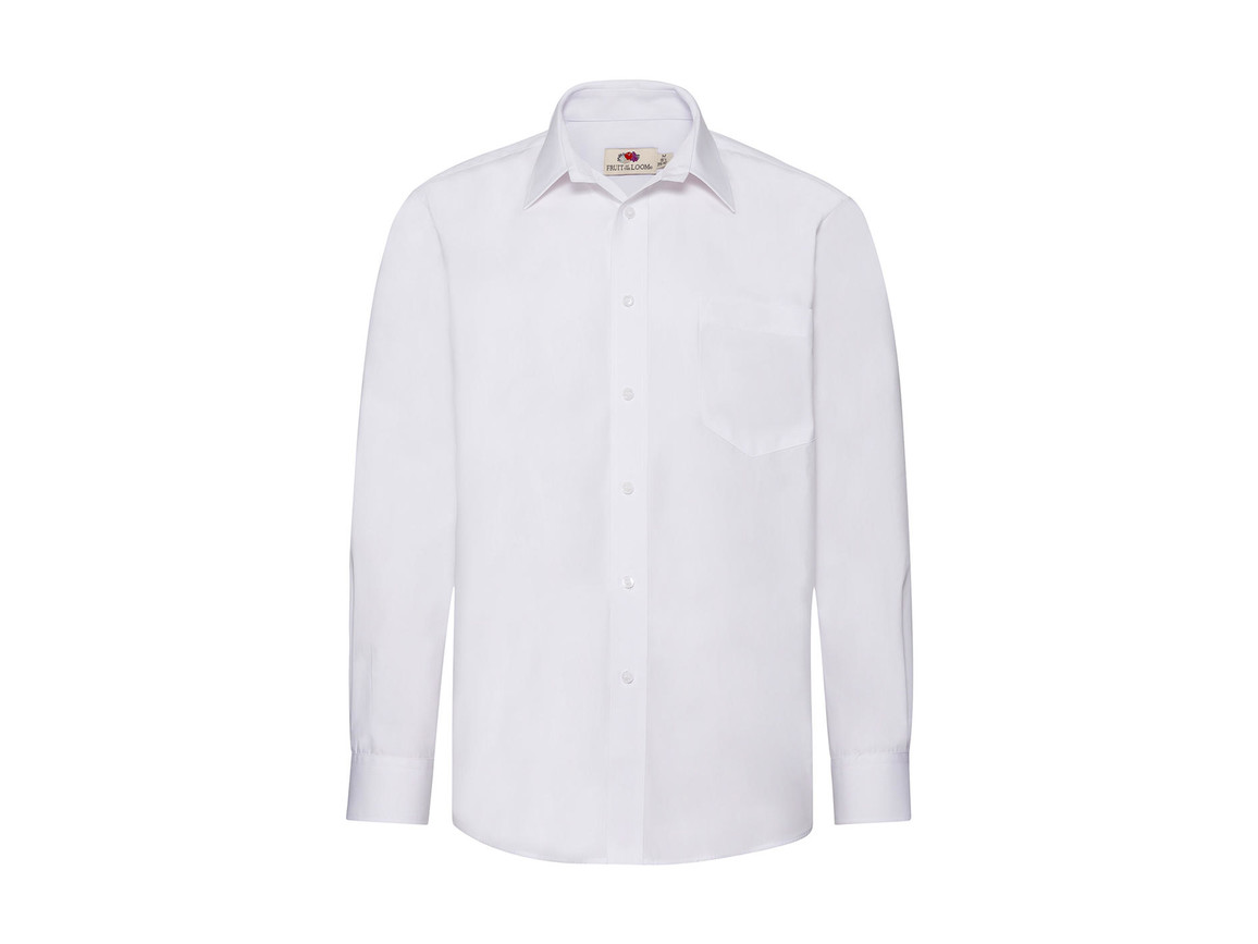 Fruit of the Loom Poplin Shirt LS, White, 3XL bedrucken, Art.-Nr. 794010008