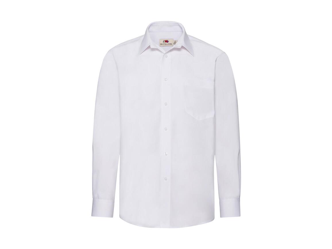 Fruit of the Loom Poplin Shirt LS, White, L bedrucken, Art.-Nr. 794010005
