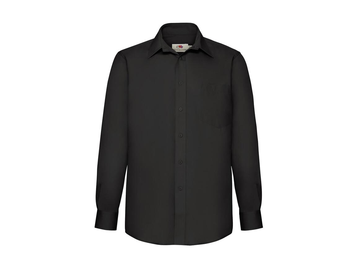 Fruit of the Loom Poplin Shirt LS, Black, XL bedrucken, Art.-Nr. 794011016