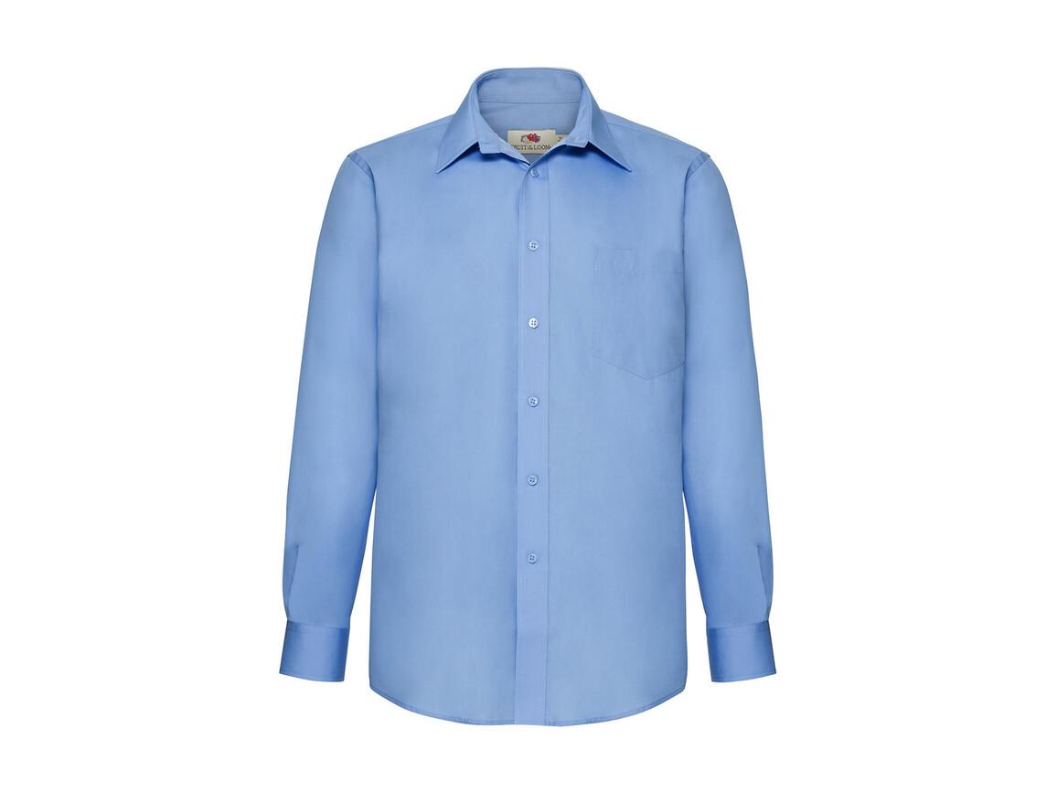 Fruit of the Loom Poplin Shirt LS, Mid Blue, L bedrucken, Art.-Nr. 794013375