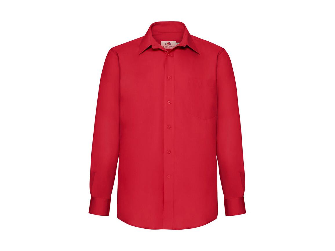 Fruit of the Loom Poplin Shirt LS, Red, 2XL bedrucken, Art.-Nr. 794014007