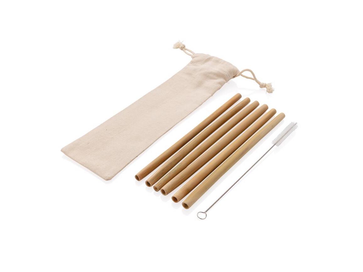 Wiederverwendbares Bambus Trinkhalm Set 6-tlg weiß bedrucken, Art.-Nr. P269.529