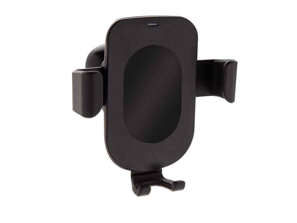 5W Wireless Charging Gravity Telefonhalter schwarz bedrucken, Art.-Nr. P302.611