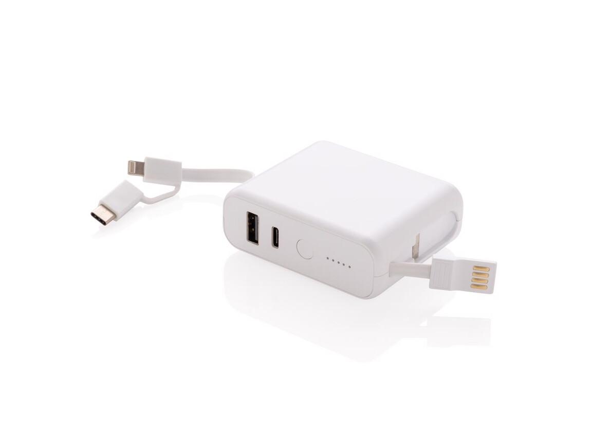 5.000 mAh Powerbank mit 5W Wireless-Charging weiß bedrucken, Art.-Nr. P324.623