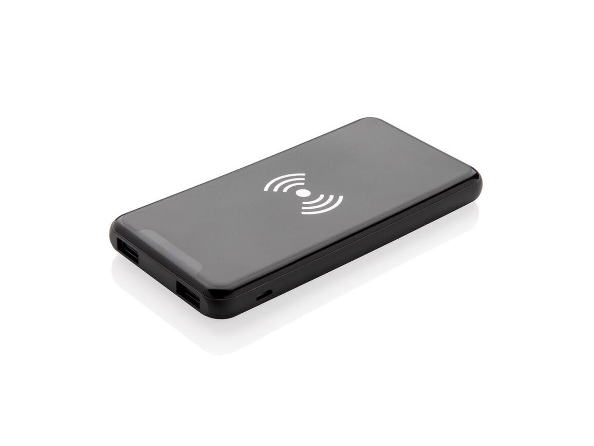 Ultradünne 4.000 mAh 5W Wireless Charging Powerbank schwarz bedrucken, Art.-Nr. P324.731