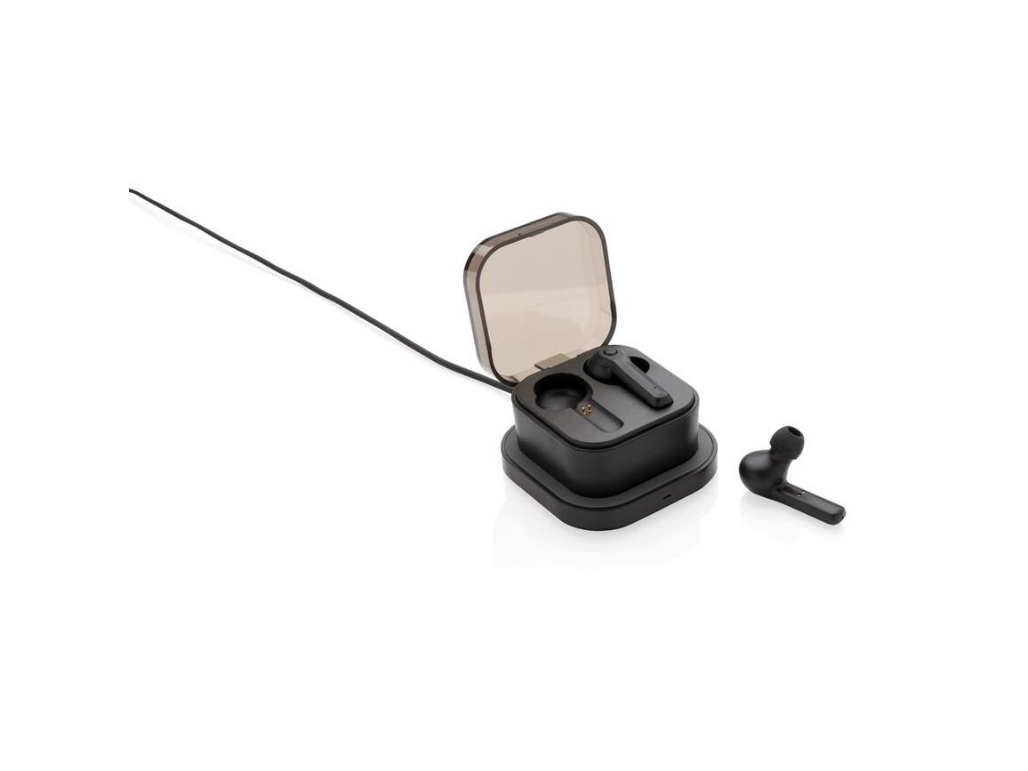 TrueWireless Ohrhörer in kabelloser Ladebox schwarz bedrucken, Art.-Nr. P329.121