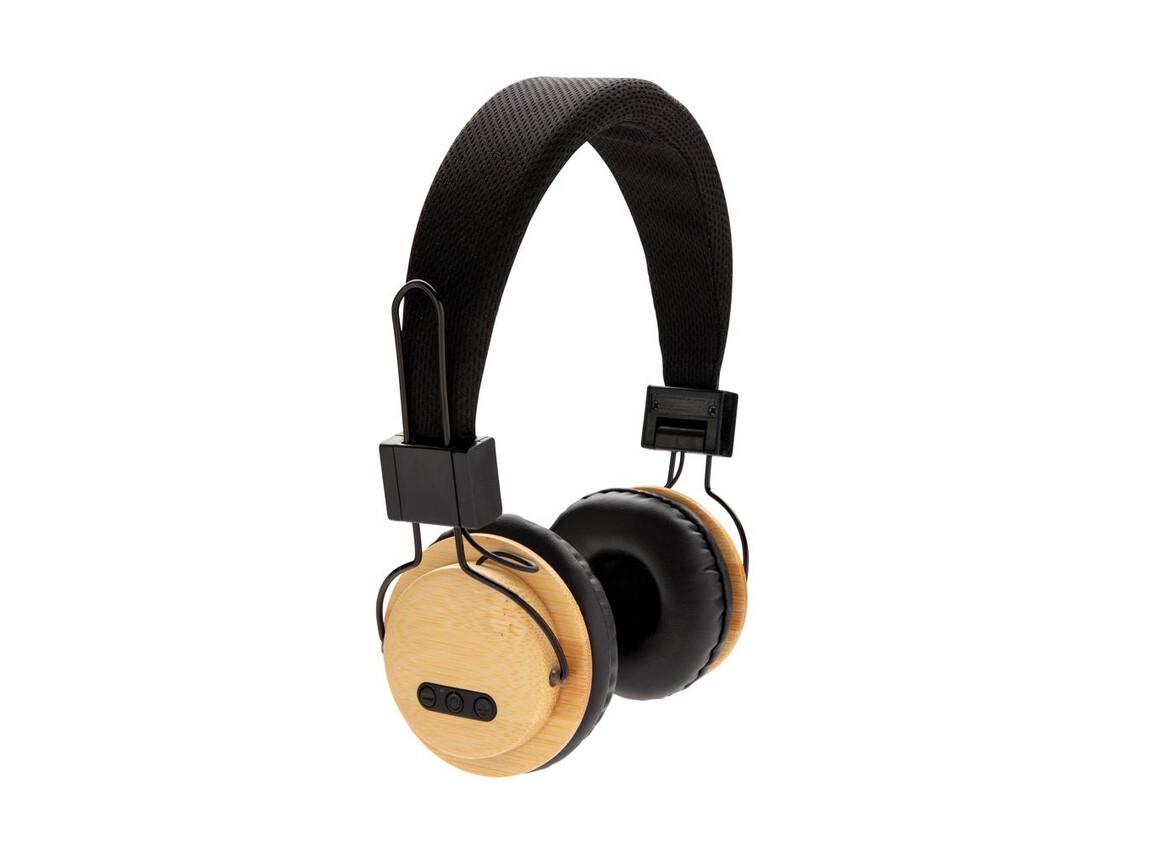 ECO Bambus kabelloser Kopfhörer braun, schwarz bedrucken, Art.-Nr. P329.169