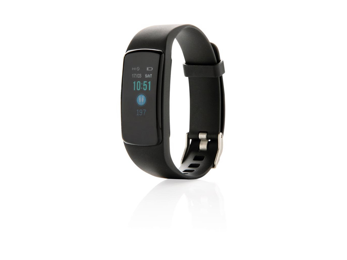 Stay Fit Activity-Tracker mit Herzfrequenzmessung schwarz bedrucken, Art.-Nr. P330.741