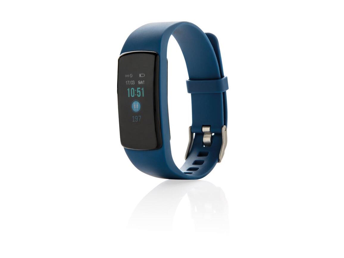 Stay Fit Activity-Tracker mit Herzfrequenzmessung blau bedrucken, Art.-Nr. P330.745