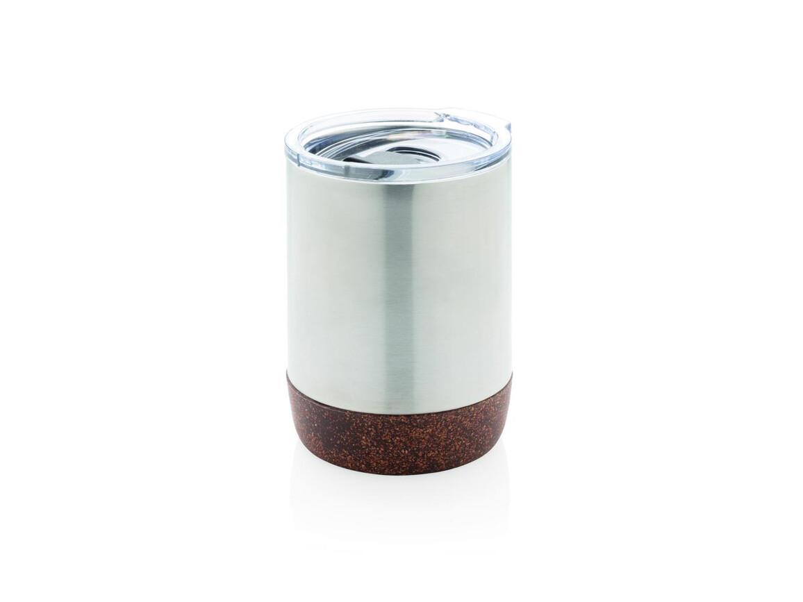 Vakuum-Tasse mit Kork-Details silber bedrucken, Art.-Nr. P432.262