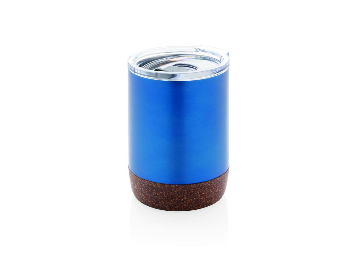 Vakuum-Tasse mit Kork-Details blau bedrucken, Art.-Nr. P432.265