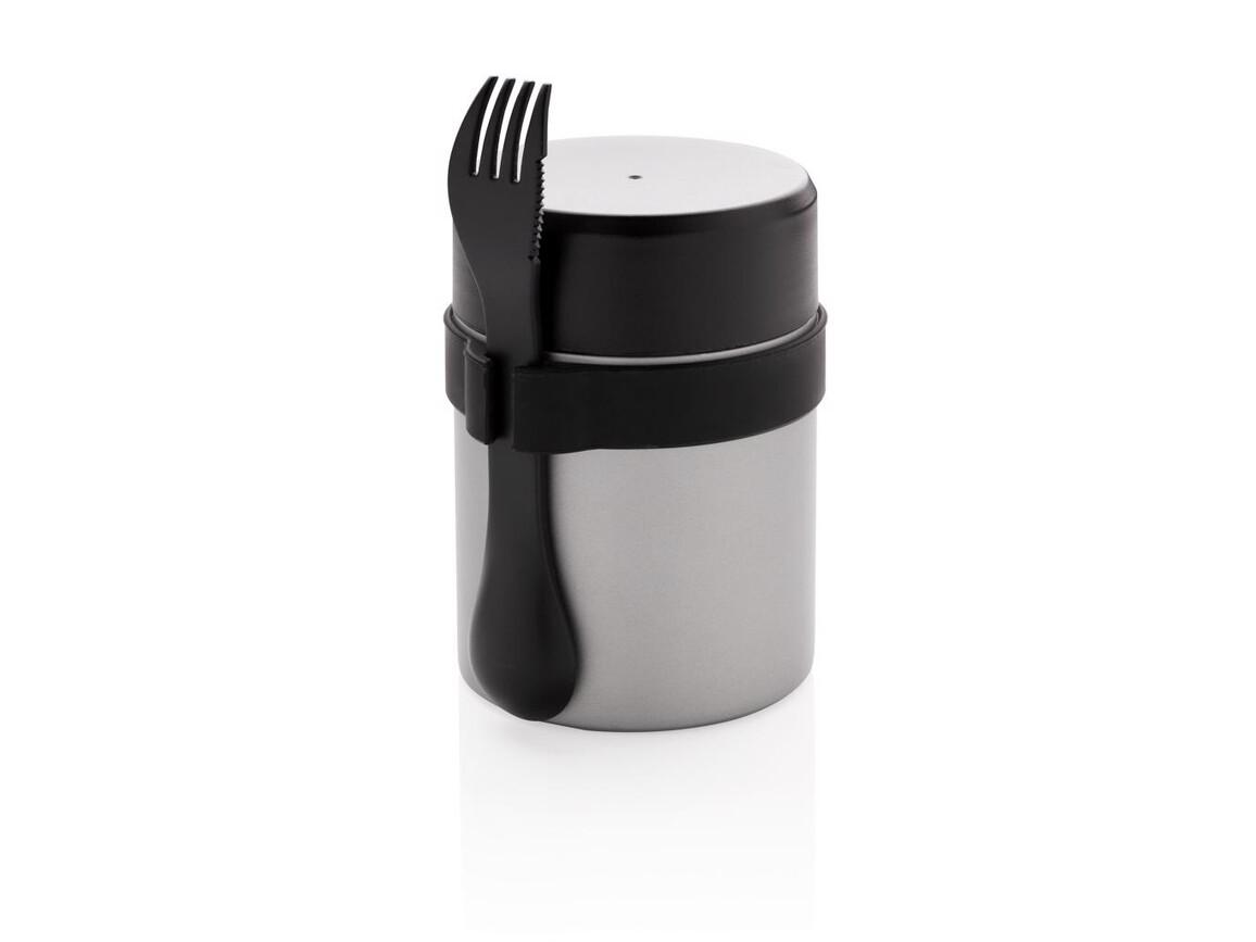 Bogota Food-Container mit Keramik-Überzug silber, schwarz bedrucken, Art.-Nr. P432.971