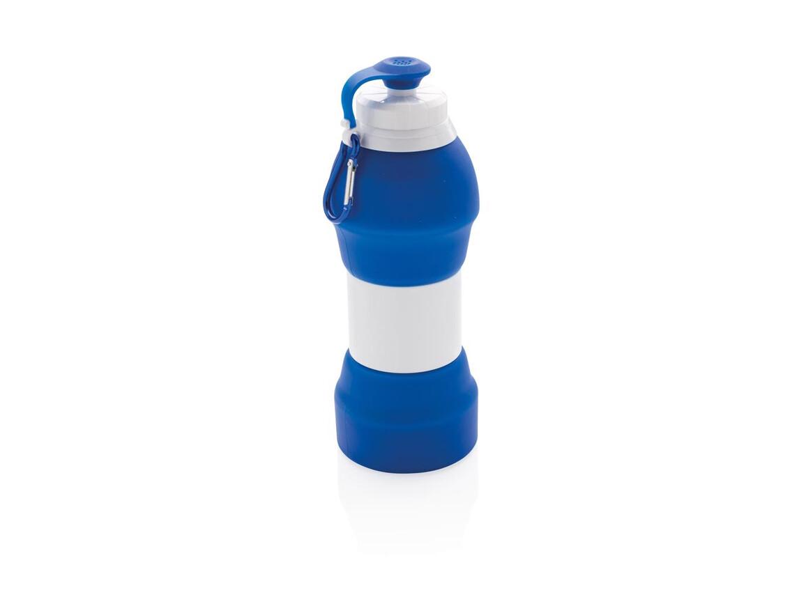 Faltbare Silikon-Sportflasche blau bedrucken, Art.-Nr. P436.355