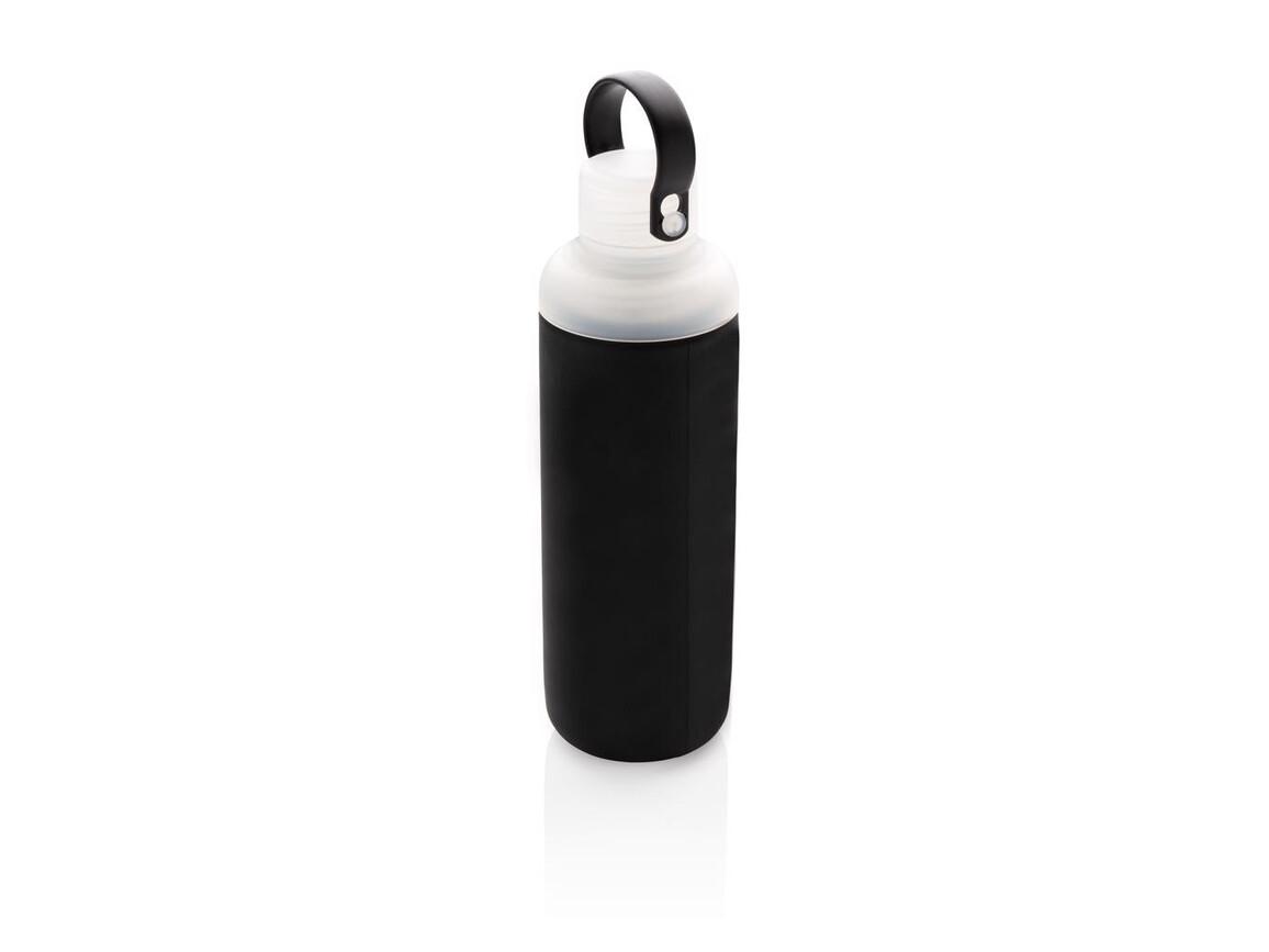 Wasserflasche aus Glas mit Silikonschutz schwarz bedrucken, Art.-Nr. P436.651