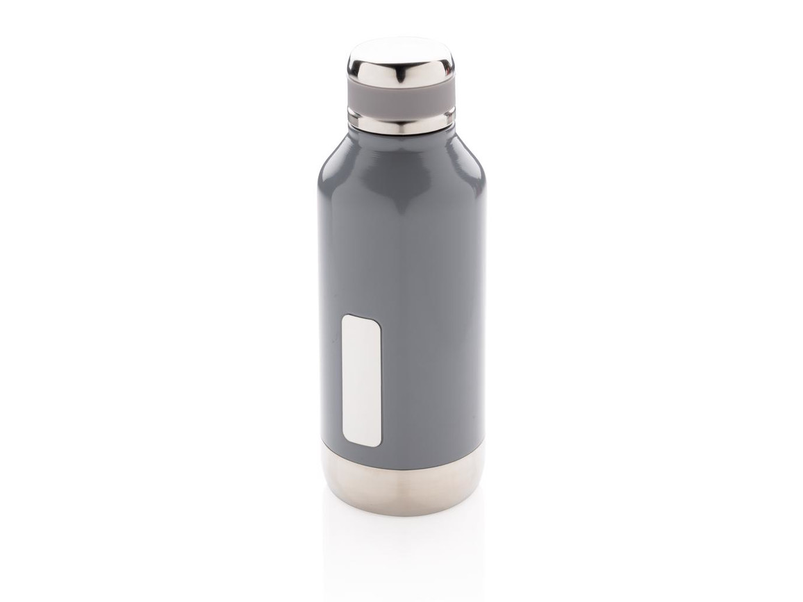 Auslaufsichere Vakuumflasche mit Logoplatte grau bedrucken, Art.-Nr. P436.672