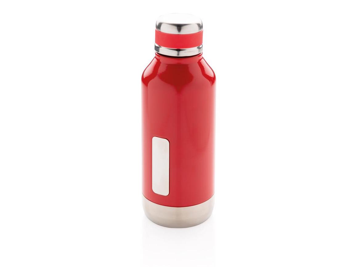 Auslaufsichere Vakuumflasche mit Logoplatte rot bedrucken, Art.-Nr. P436.674