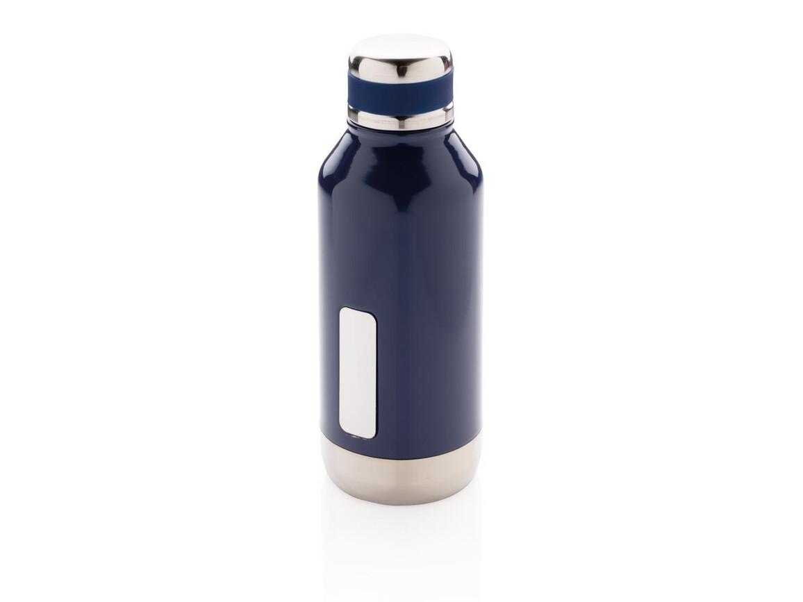 Auslaufsichere Vakuumflasche mit Logoplatte blau bedrucken, Art.-Nr. P436.675