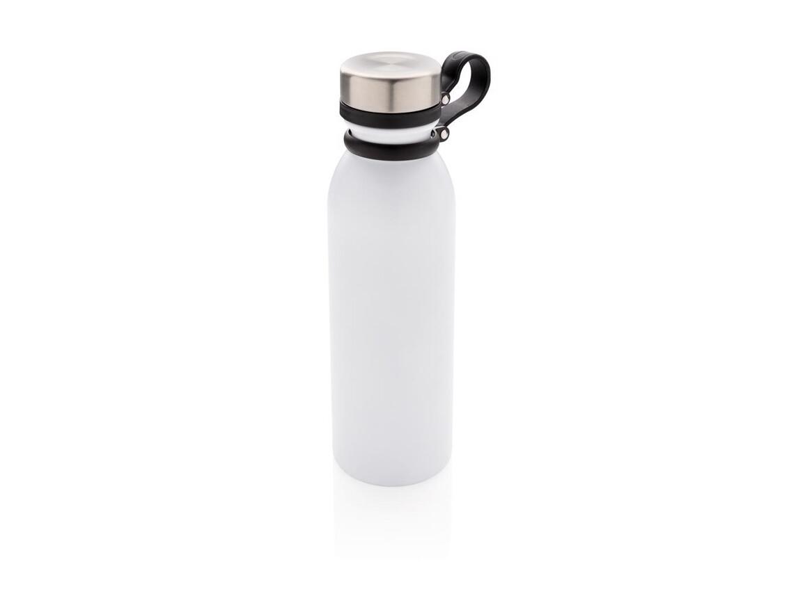 Kupfer-Vakuumisolierte Flasche mit Trageriemen weiß bedrucken, Art.-Nr. P436.713
