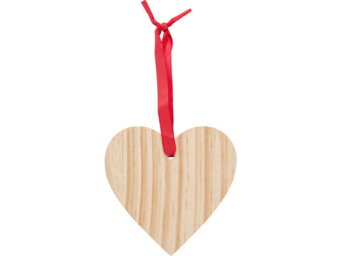 Weihnachtsbaumanhänger 'X-MAS Heart' aus Holz – Braun bedrucken, Art.-Nr. 011999999_9050