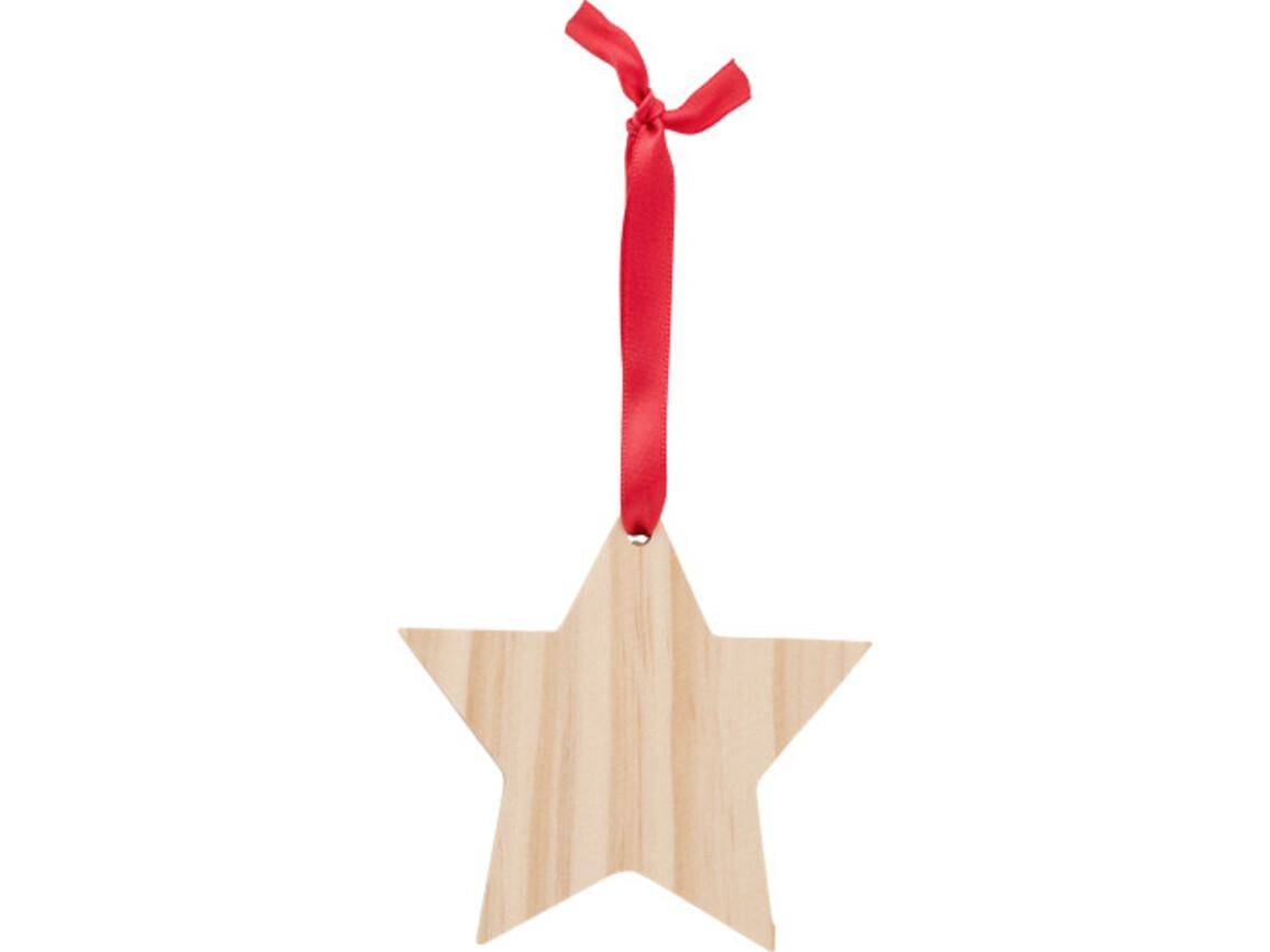 Weihnachtsbaumanhänger 'X-MAS Star' aus Holz – Braun bedrucken, Art.-Nr. 011999999_9051