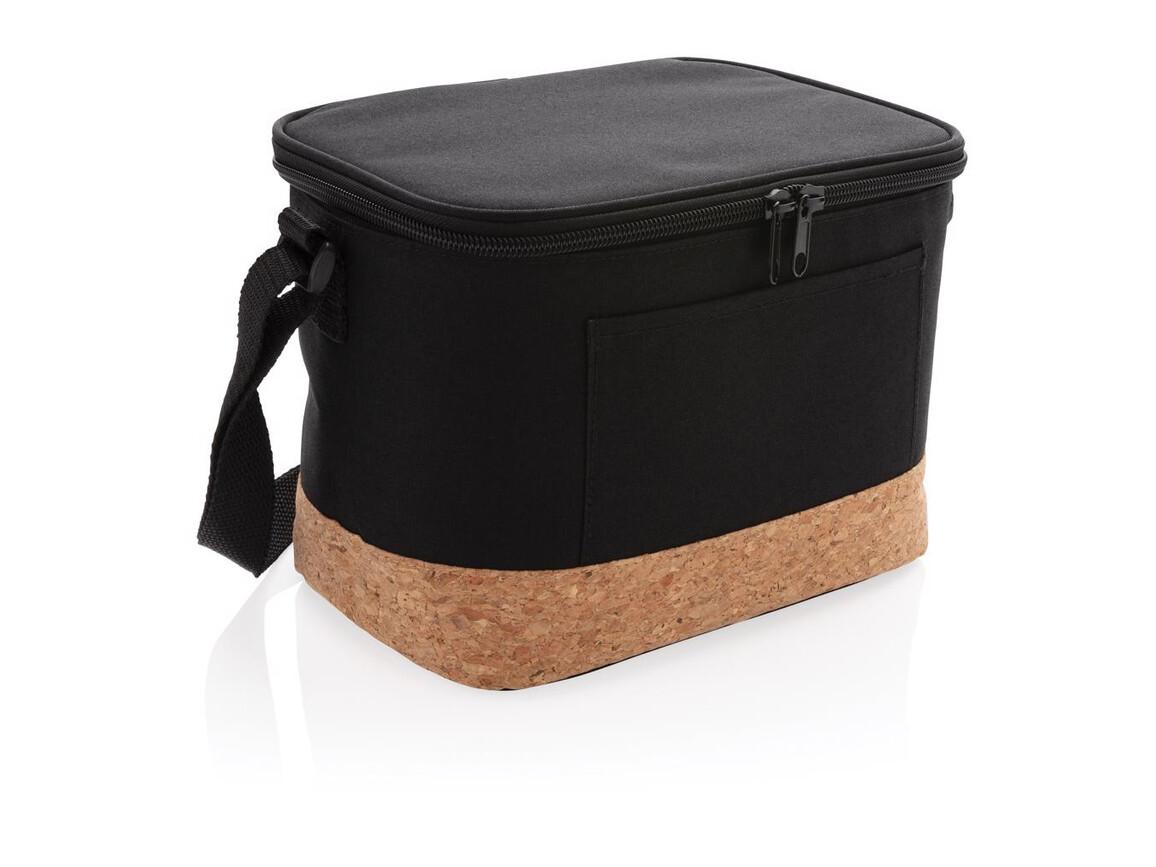 Two-Tone Kühltasche mit Korkdetails schwarz bedrucken, Art.-Nr. P422.261