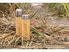 Auslaufsichere Bambus-Vakuumflasche braun bedrucken, Art.-Nr. P436.239