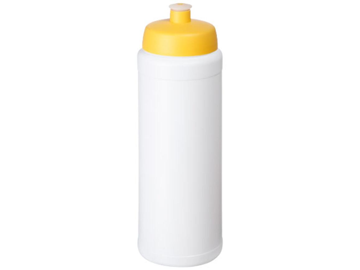 Baseline® Plus grip 750 ml Sportflasche mit Sportdeckel, weiss, gelb bedrucken, Art.-Nr. 21068910