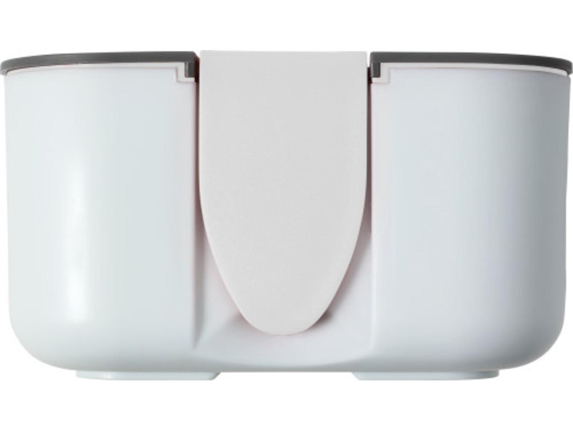 Brotdose 'Bob' (850 ml) aus Silikon und Kunststoff – Weiß bedrucken, Art.-Nr. 002999999_8520