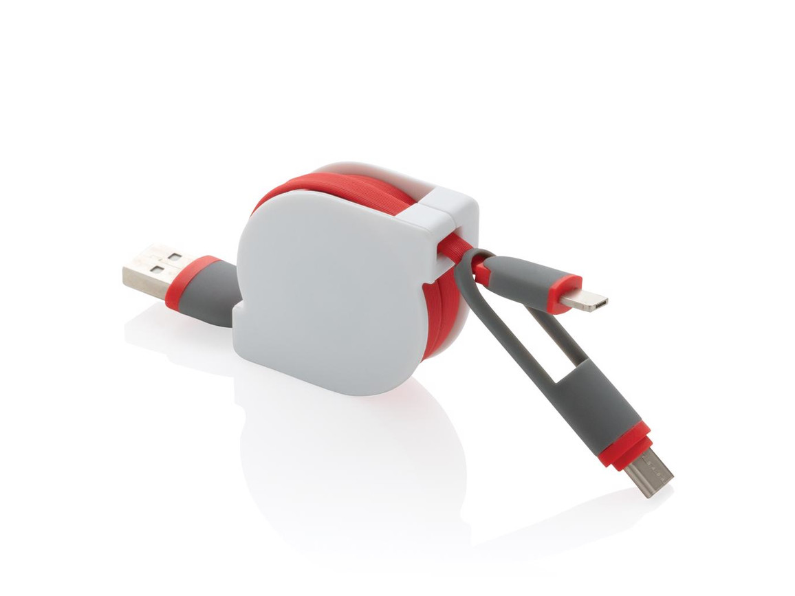 3-in-1 ausziehbares Kabel rot bedrucken, Art.-Nr. P302.224