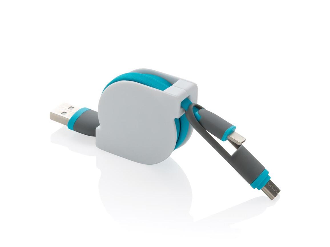 3-in-1 ausziehbares Kabel blau bedrucken, Art.-Nr. P302.225