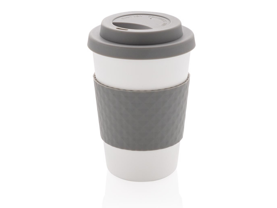 Wiederverwendbarer Kaffeebecher 270ml grau bedrucken, Art.-Nr. P432.672