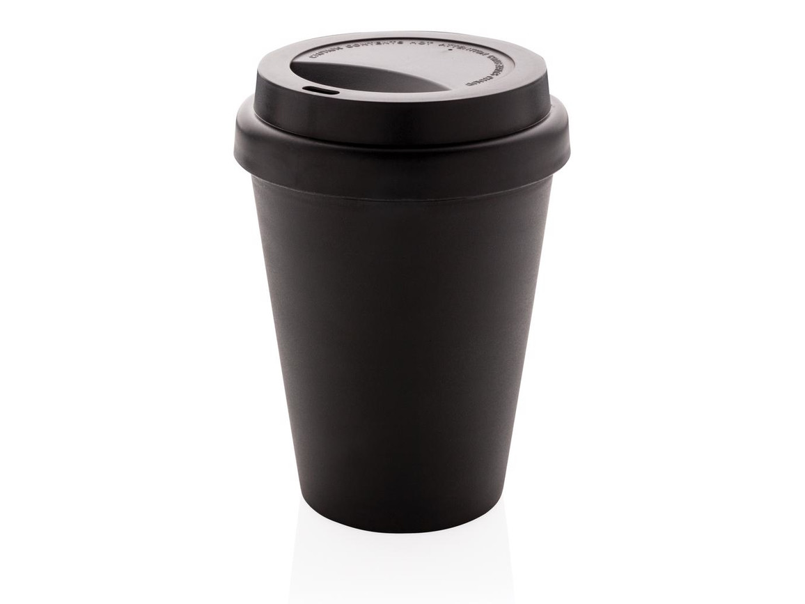 Wiederverwendbarer doppelwandiger Kaffeebecher 300ml schwarz bedrucken, Art.-Nr. P432.691