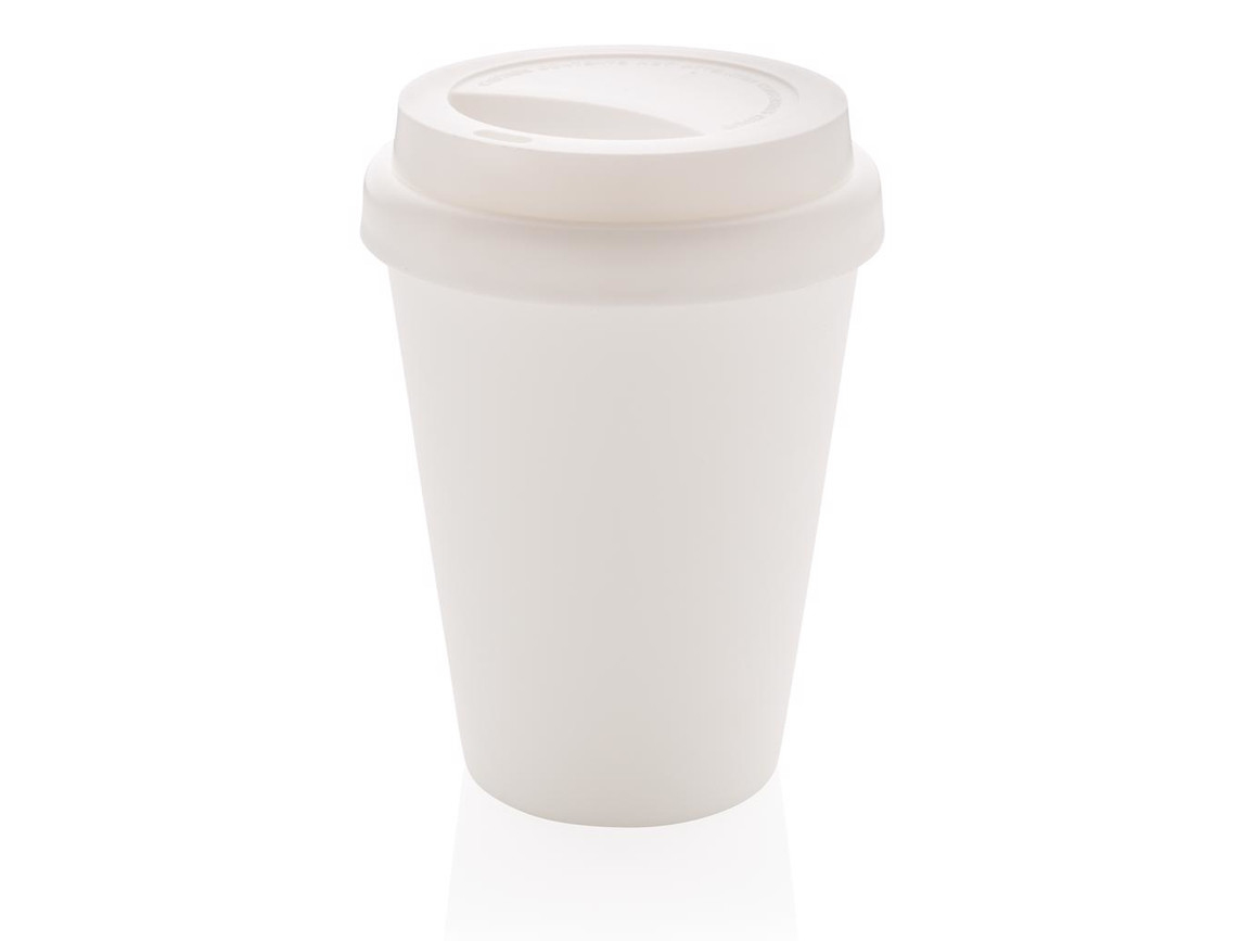 Wiederverwendbarer doppelwandiger Kaffeebecher 300ml weiß bedrucken, Art.-Nr. P432.693