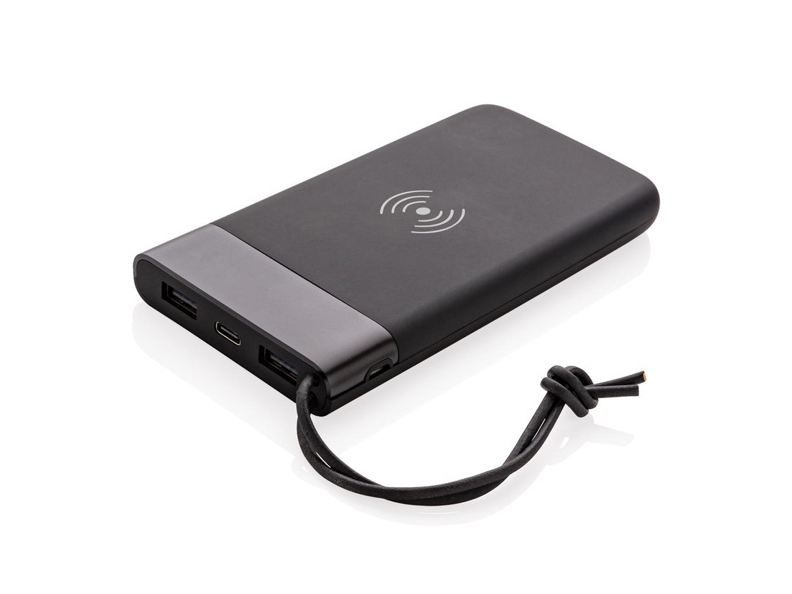 Aria 8.000 mAh 5W Wireless Charging Powerbank schwarz bedrucken, Art.-Nr. P324.691