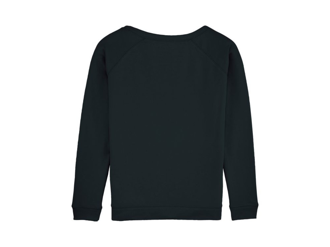 Damen Sweatshirt mit weitem Ausschnitt - Black - S bedrucken, Art.-Nr. STSW050C0021S