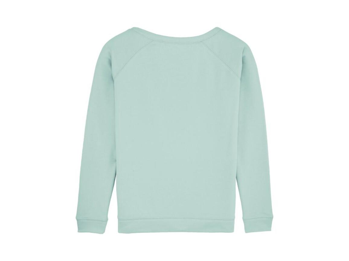 Damen Sweatshirt mit weitem Ausschnitt - Caribbean Blue - M bedrucken, Art.-Nr. STSW050C7241M