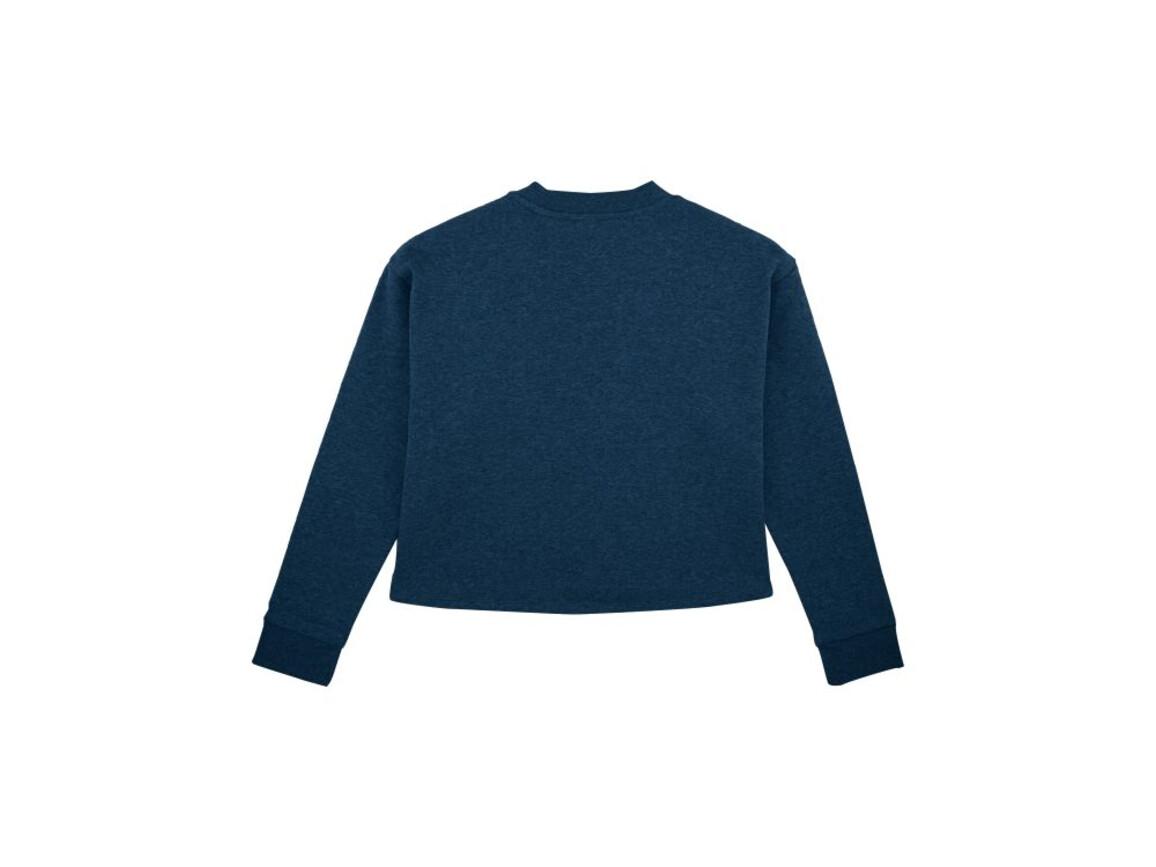Damen Kurzes Sweatshirt - Black Heather Blue - M bedrucken, Art.-Nr. STSW135C5881M