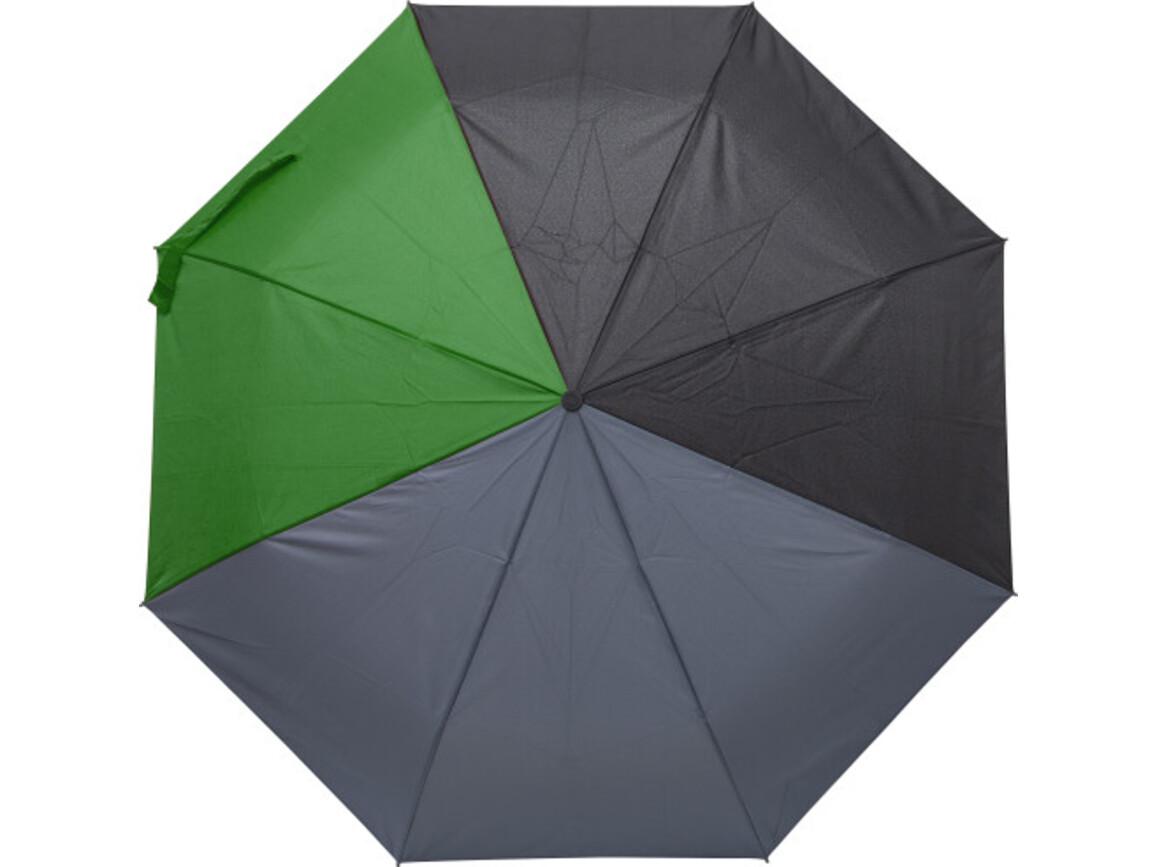 Regenschirm 'Quarter' aus Pongee-Seide – Grün bedrucken, Art.-Nr. 004999999_9257