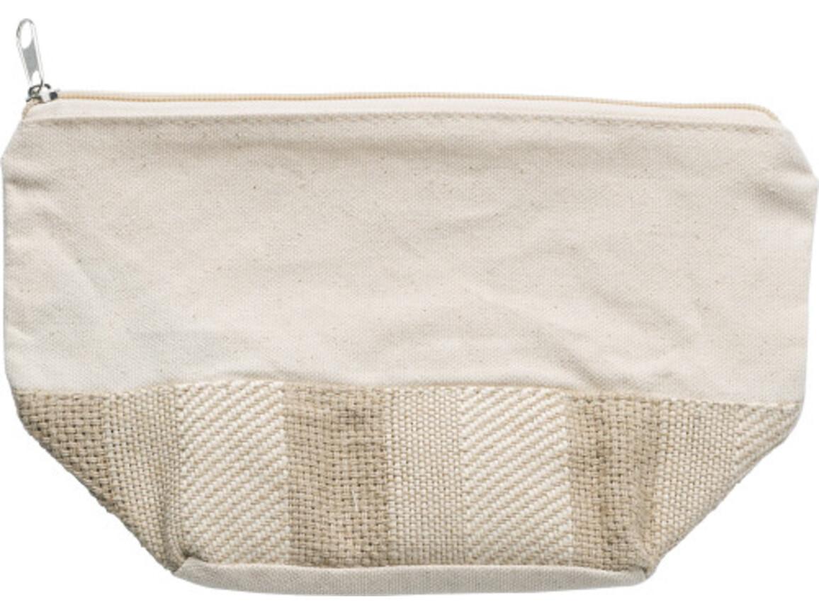 Kulturtasche 'Chic'  aus  Baumwolle – Braun bedrucken, Art.-Nr. 011999999_9276